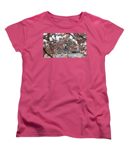 Women's T-Shirt (Standard Cut) featuring the photograph Jefferson Through The Cherry Blossoms by Charles Kraus