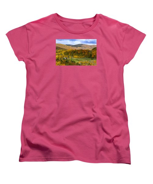 Women's T-Shirt (Standard Cut) featuring the photograph Jenne Farms Neighbor Reading Vt by Betty Denise