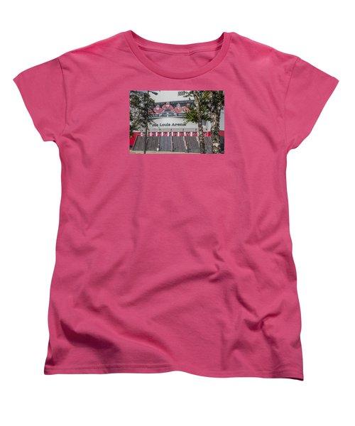 Joe Louis Arena And Trees Women's T-Shirt (Standard Cut) by John McGraw