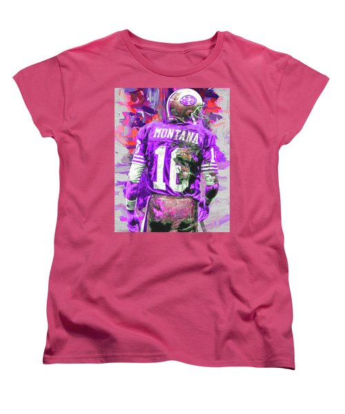 Joe Montana 16 San Francisco 49ers Football Women's T-Shirt (Standard Cut) by David Haskett