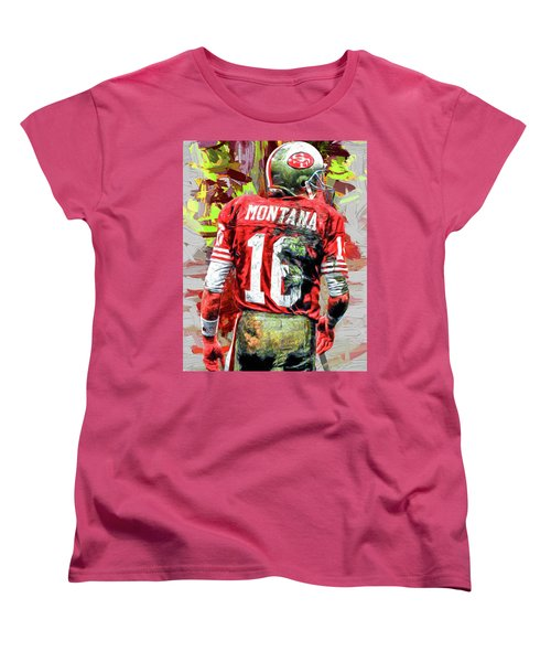 Joe Montana Football Digital Fantasy Painting San Francisco 49ers Women's T-Shirt (Standard Cut) by David Haskett