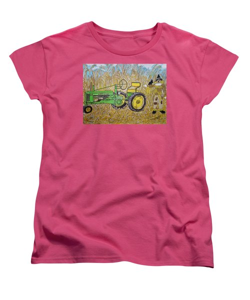 John Deere Tractor And The Scarecrow Women's T-Shirt (Standard Cut) by Kathy Marrs Chandler