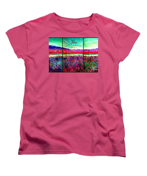Joy Comes With The Morning Triptych  Women's T-Shirt (Standard Cut) by Kimberlee Baxter