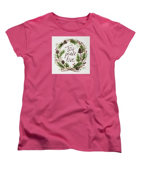 Women's T-Shirt (Standard Cut) featuring the painting Joy, Peace, Love by Elizabeth Robinette Tyndall