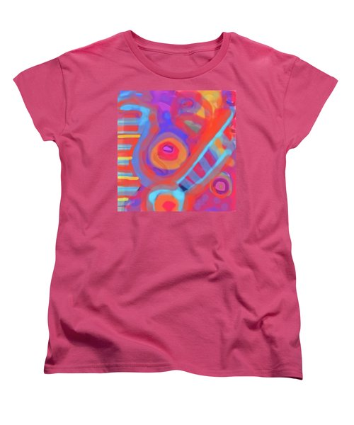 Women's T-Shirt (Standard Cut) featuring the painting Juicy Colored Abstract by Susan Stone