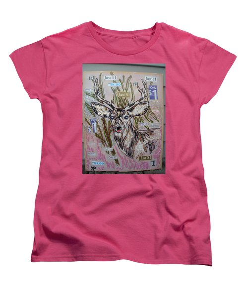 Women's T-Shirt (Standard Cut) featuring the painting Just A Buck by Lisa Piper