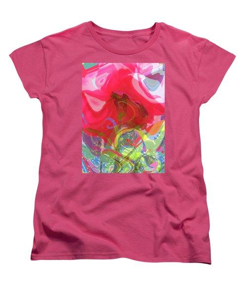 Just A Wild And Crazy Rose - Floral Abstract Women's T-Shirt (Standard Cut) by Brooks Garten Hauschild