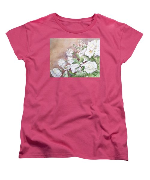 Women's T-Shirt (Standard Cut) featuring the painting Justin's Flowers by Marilyn Zalatan