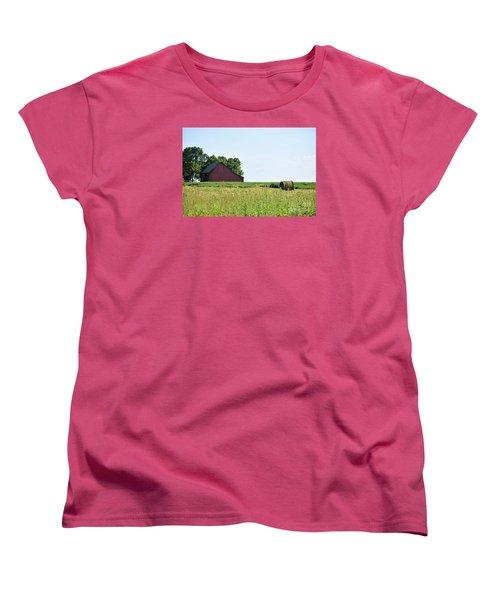Women's T-Shirt (Standard Cut) featuring the photograph Kansas Barn by Mark McReynolds