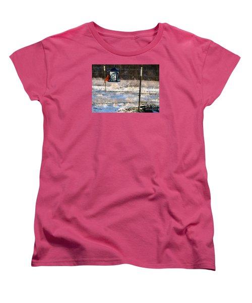 Kansas Cardinal At The Feeder Women's T-Shirt (Standard Cut) by Mark McReynolds