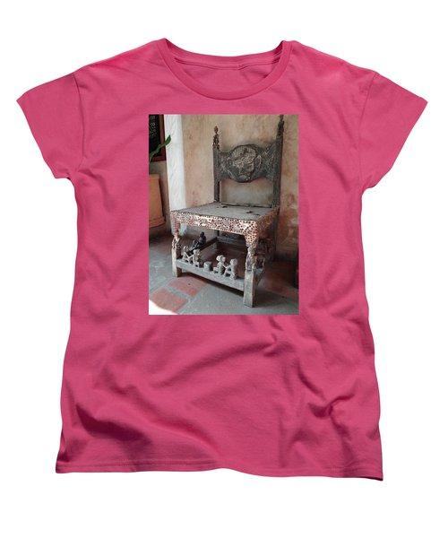 Kenyan African Antique Carved Chair Women's T-Shirt (Standard Cut) by Exploramum Exploramum