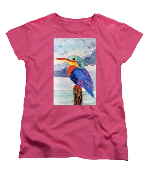 Kingfisher On Post Women's T-Shirt (Standard Cut) by Suzanne Canner