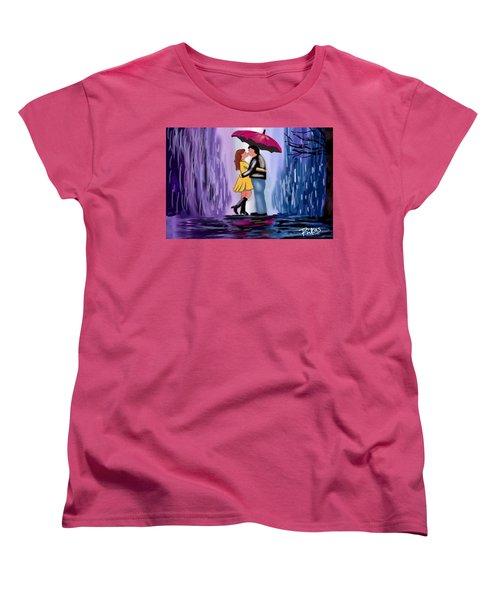 Kiss In The Rain Women's T-Shirt (Standard Cut) by Diana Riukas