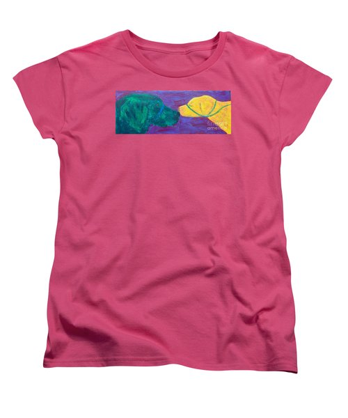 Women's T-Shirt (Standard Cut) featuring the painting Kissing Dog by Donald J Ryker III