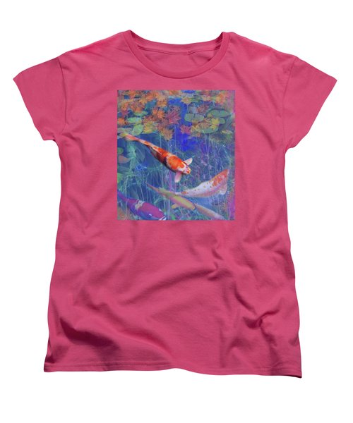 Koi Fish Pond Japanese Tea Garden  Women's T-Shirt (Standard Cut) by Julianne Ososke