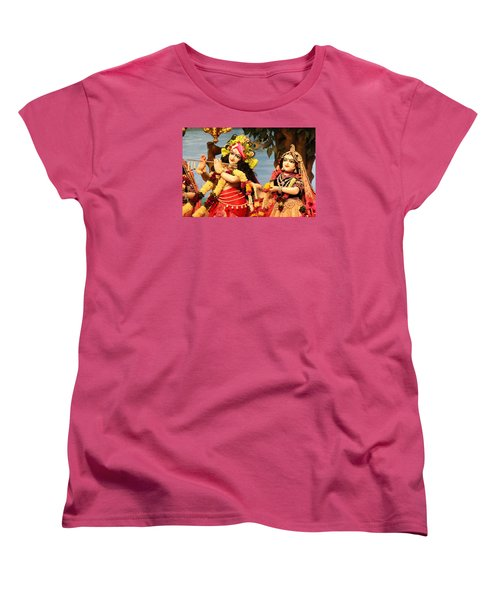 Krishna And Radha At Radha Gopinath Mandir, Mumbai Women's T-Shirt (Standard Cut) by Jennifer Mazzucco