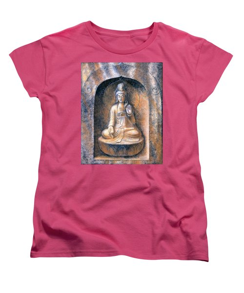 Women's T-Shirt (Standard Cut) featuring the painting Kuan Yin Meditating by Sue Halstenberg