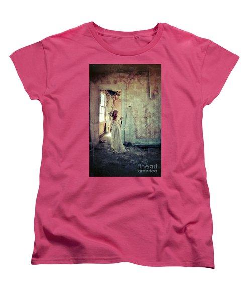 Lady In An Old Abandoned House Women's T-Shirt (Standard Cut) by Jill Battaglia