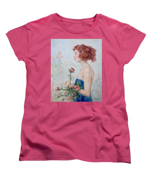 Lady With Roses  Women's T-Shirt (Standard Cut) by Pierre Van Dijk
