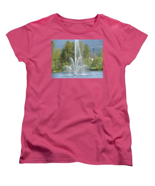 Women's T-Shirt (Standard Cut) featuring the painting Lafarge Lake Fountain by Rod Jellison