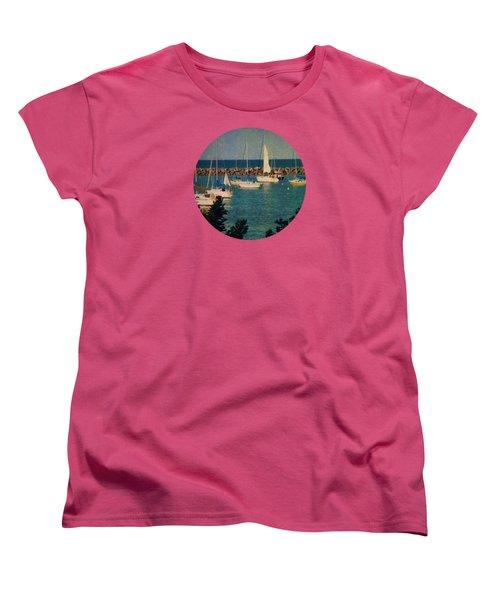 Lake Michigan Sailboats Women's T-Shirt (Standard Cut) by Mary Wolf