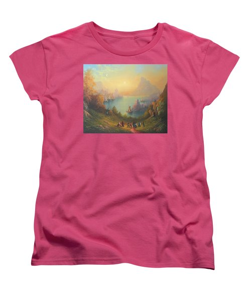 Lake Town Thirteen Dwarves And A Hobbit Named Bilbo Women's T-Shirt (Standard Cut) by Joe  Gilronan