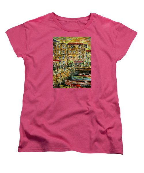 Women's T-Shirt (Standard Cut) featuring the painting Land And Water And People Therebetween by Alfred Motzer