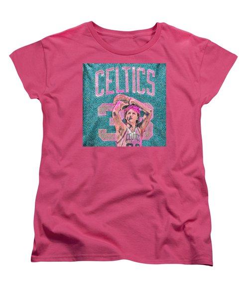 Larry Bird Boston Celtics Digital Painting Pink Women's T-Shirt (Standard Cut) by David Haskett