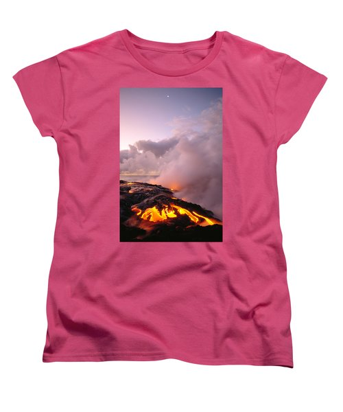 Lava Flows At Sunrise Women's T-Shirt (Standard Cut) by Peter French - Printscapes