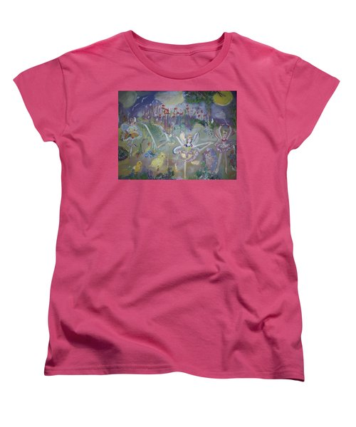 Women's T-Shirt (Standard Cut) featuring the painting Lavender Fairies by Judith Desrosiers
