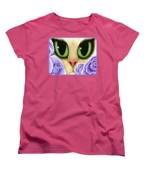 Lavender Roses Cat - Green Eyes Women's T-Shirt (Standard Cut) by Carrie Hawks