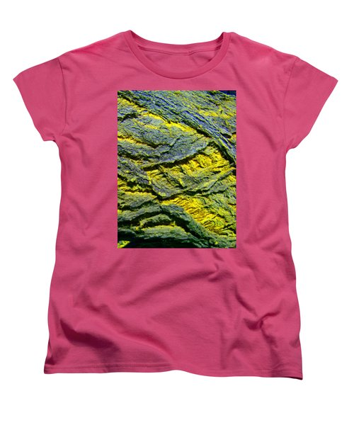 Women's T-Shirt (Standard Cut) featuring the photograph Layers In Blue And Yellow by Lenore Senior