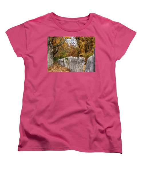 Women's T-Shirt (Standard Cut) featuring the photograph Leaves Along The Fence by Lois Lepisto