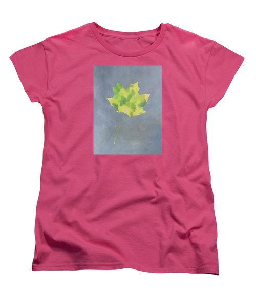 Leaves Through Maple Leaf On Texture 4 Women's T-Shirt (Standard Cut) by Gary Slawsky