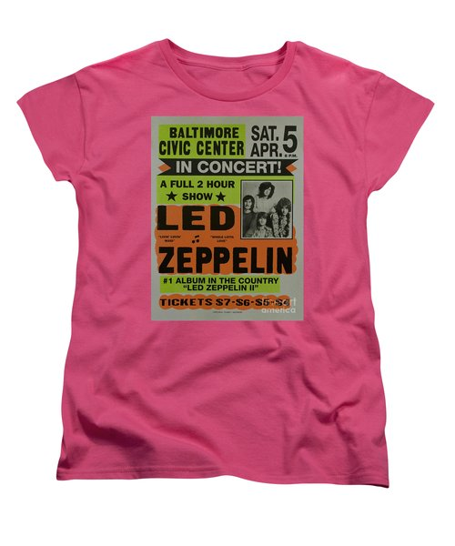 Led Zeppelin Live In Concert At The Baltimore Civic Center Poster Women's T-Shirt (Standard Cut) by R Muirhead Art