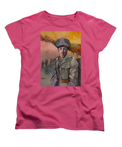 Women's T-Shirt (Standard Cut) featuring the painting Leonard Keysor Vc by Ray Agius