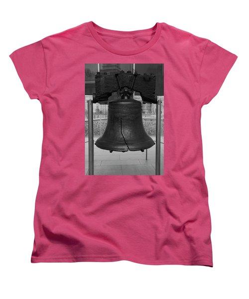 Women's T-Shirt (Standard Cut) featuring the digital art Liberty Bell Bw by Chris Flees