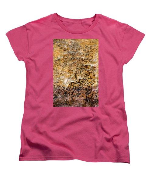 Women's T-Shirt (Standard Cut) featuring the photograph Lichen Abstract, Bhimbetka, 2016 by Hitendra SINKAR