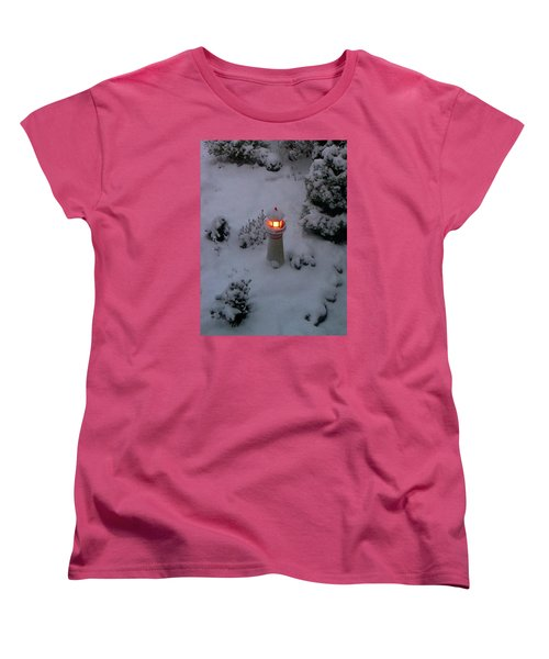 Women's T-Shirt (Standard Cut) featuring the photograph Lighthouse In The Snow by Kathryn Meyer