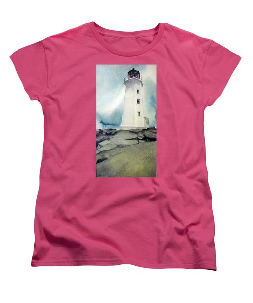 Lighthouse Rock Women's T-Shirt (Standard Cut) by Ed Heaton