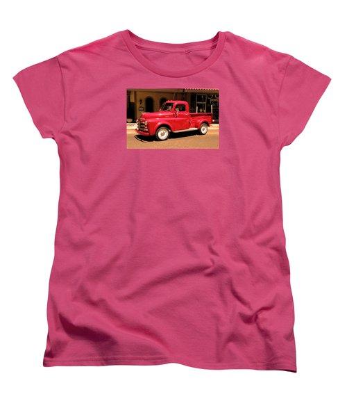 Women's T-Shirt (Standard Cut) featuring the photograph Lil Red Truck On A Dusty Street by Spyder Webb