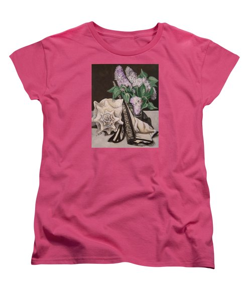 Women's T-Shirt (Standard Cut) featuring the painting Lilac And Lingerie by Laura Aceto