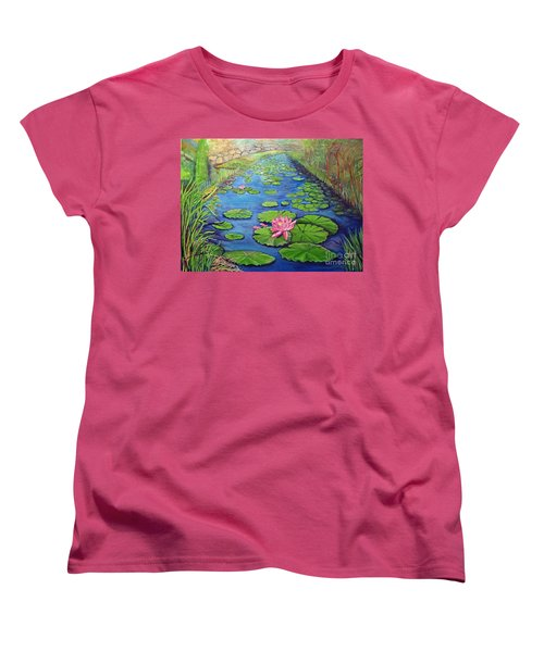 Women's T-Shirt (Standard Cut) featuring the painting Water Lily Canal by Ecinja Art Works