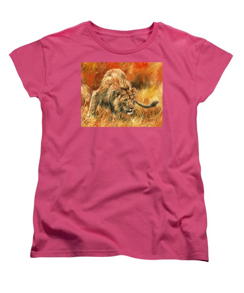 Women's T-Shirt (Standard Cut) featuring the painting Lion Alert by David Stribbling