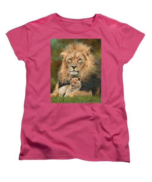 Lion And Cub Women's T-Shirt (Standard Cut) by David Stribbling
