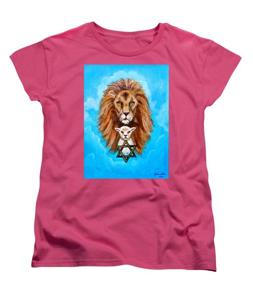Women's T-Shirt (Standard Cut) featuring the painting Lion Lies Down With A Lamb by Bob and Nadine Johnston