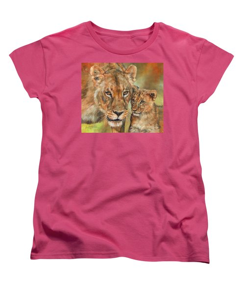 Lioness And Cub Women's T-Shirt (Standard Cut) by David Stribbling