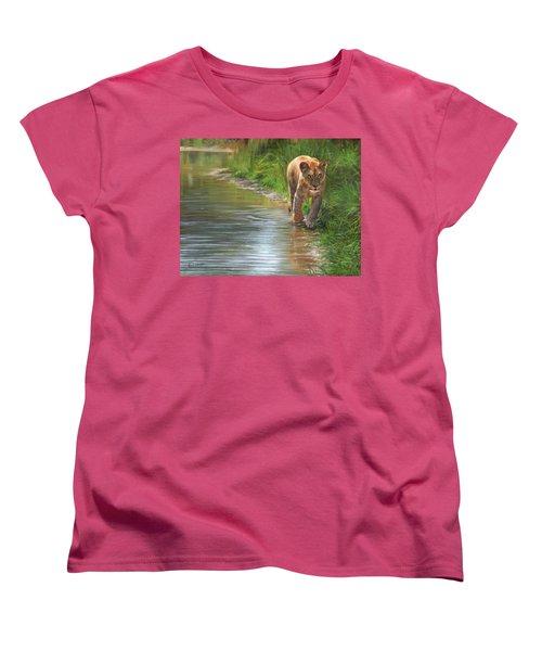 Lioness. Water's Edge Women's T-Shirt (Standard Cut) by David Stribbling