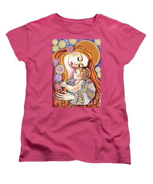 Women's T-Shirt (Standard Cut) featuring the painting Little Angel Sleeping by Eva Campbell
