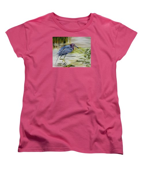 Women's T-Shirt (Standard Cut) featuring the painting Little Blue Heron In The Bay by Phyllis Beiser